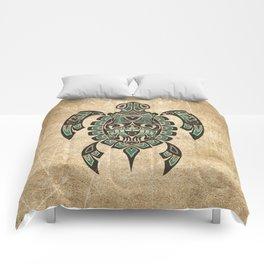 Vintage Teal Blue Haida Spirit Sea Turtle Comforters