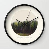 tina Wall Clocks featuring Dark Forest by Tina Crespo