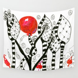 Pop of Color, Red Balloon Zendoodle in Fanciful Forest Wall Tapestry