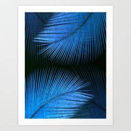 Palm leaf synchronicity - metallic blue Art Print