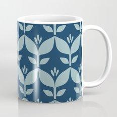 Navy blue retro tulip floral Mug