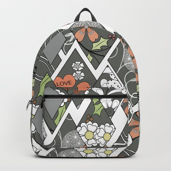 Patchwork,abstract floral,pattern. Backpack