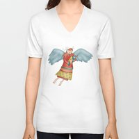 angel V-neck T-shirts featuring Angel by Catru