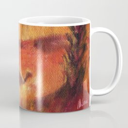 Oasis with camels in Sahara. Desert animals Coffee Mug