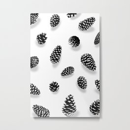 PINE CONE BLACK AND WHITE Metal Print