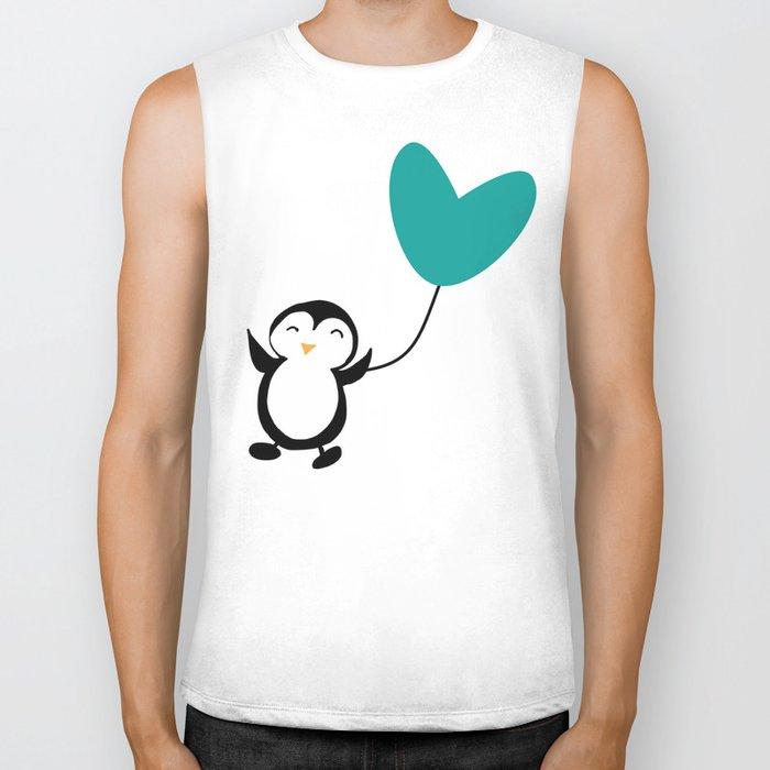 Penguin in love White Biker Tank