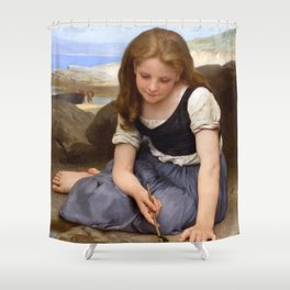 "William-Adolphe Bouguereau ""Le Crabe"" Shower Curtain"