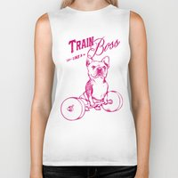 train Biker Tanks featuring Train Like A Boss by Huebucket
