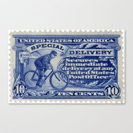 Special Delivery 1902 vintage blue postage stamp Canvas Print