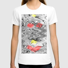 Absolute Abstract Grey Jiggle With Colour Splash T-shirt