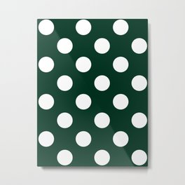 Large Polka Dots - White on Deep Green Metal Print