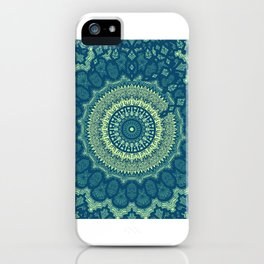 Ethnic Neck Gaiter Navy Blue and Green Boho Neck Gator iPhone Case