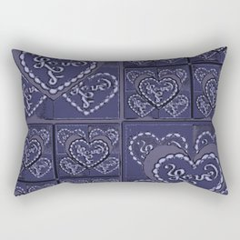 4 Square Hearts Pattern (midnight) Rectangular Pillow