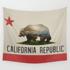 California Grizzly Bear Flag Wall Tapestry