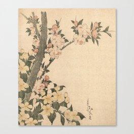 Hokusai, flowers of a cherry-tree- manga, japan,hokusai,japanese,北斎,ミュージシャン Canvas Print