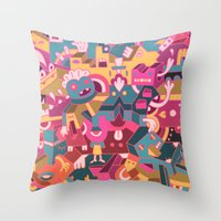 cartoons Throw Pillows featuring Dear Clarence by Mister Phil