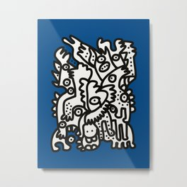 Blue Navy Color 2020 with Black and White Cool Monsters Metal Print