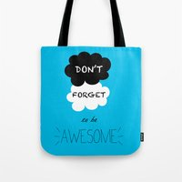 tfios Tote Bags featuring DFTBA TFIOS Nerdfighter Vlogbrothers Don't Forget to be Awesome, The Fault in Our Stars, John Green by Corrie Jacobs