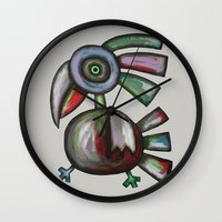 parrot Wall Clocks featuring Parrot by Rudolf Brancovsky