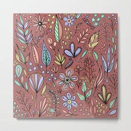 Flowers and Leaves Pattern Metal Print