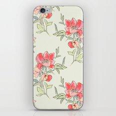 Vintage Floral Green Dot iPhone & iPod Skin