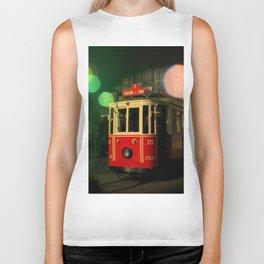 red tram in bubbles Biker Tank