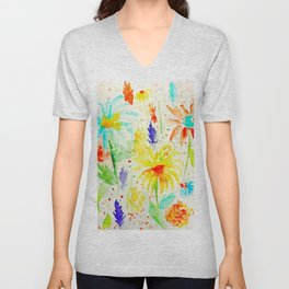 Watercolor Abstract Floral Pattern Red Orange Blue Daisies Unisex V-Neck