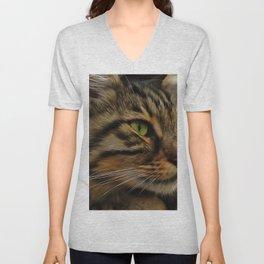 Aslan The Long Haired Tabby Cat Unisex V-Neck