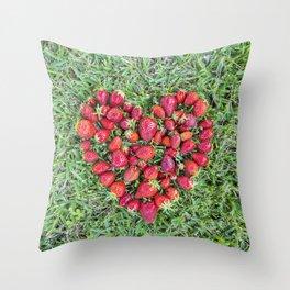 Strawberries heart Throw Pillow