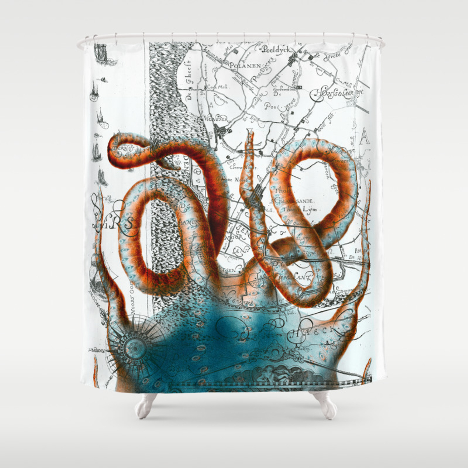 Octopus Tentacles Vintage Map Nautical Shower Curtain By Eveystudios Society6