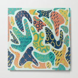 Nostalgic 90s Style Amoeba Hand Drawn Repeating Pattern Metal Print