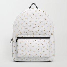 Chic gray white gold geometric confetti pattern Backpack