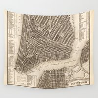new york map Wall Tapestries featuring New York Map by Le petit Archiviste