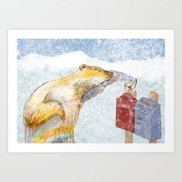 Valentines polar bear Art Print