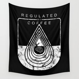 Caffeine on the Brain // B&W Regulated by Coffee Espresso Drip Distressed Living Graphic Design Wall Tapestry