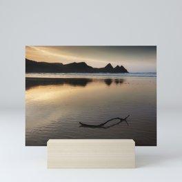 Three Cliffs Bay reflection Mini Art Print