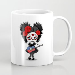 Day of the Dead Girl Playing Haitian Flag Guitar Coffee Mug