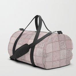 Romantic Pink Damask Patchwork Pattern Duffle Bag