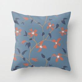 Floral Clematis Vine - Indigo Sunset Throw Pillow