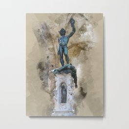 Sculpture of Perseus with the head of Medusa - Florence Metal Print