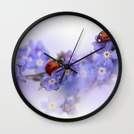 Ladybirds on Forget-me-not Wall Clock