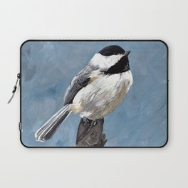 Chickadee Original Acrylic Art on Canvas,Bird Painting, Chickadee Wall Art, Bird on a Branch Laptop Sleeve