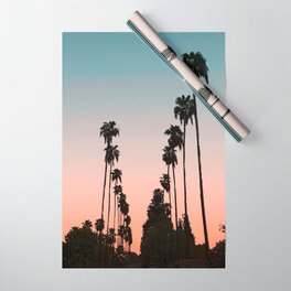 California Sunset // Palm Tree Silhouette Street View Orange and Blue Color Sky Beach Photography Wrapping Paper