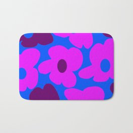 Large Pink and Purple Retro Flowers Blue Background #decor #society6 #buyart Bath Mat