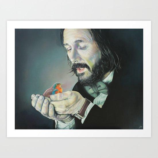 Meeting a Robin  Art Print