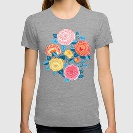 Climbing Rosa Vines - Blue T-shirt
