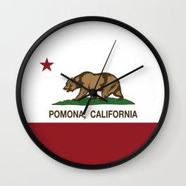 Pomona California Republic Flag  Wall Clock
