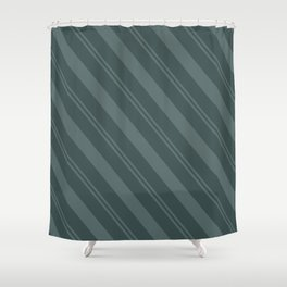Juniper Berry Green PPG1145-6 Thick and Thin Angled Stripes on Night Watch PPG1145-7 Shower Curtain