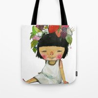 spring Tote Bags featuring Spring  by Young Ju