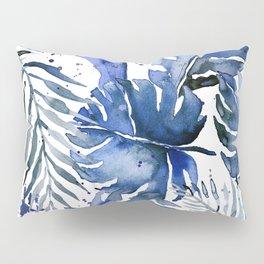 Tropical plants in indigo blue Pillow Sham